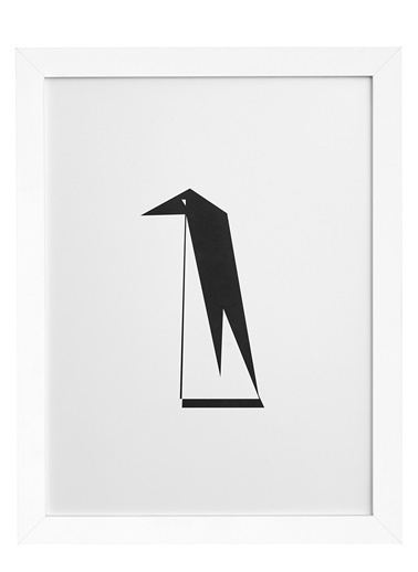 Nordbagen Origami Penguin Poster Beyaz